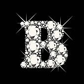 B letter with diamonds