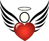 Angel and heart logo