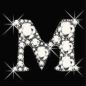 M letter with diamonds bling bling
