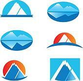 Set of six mountain logos