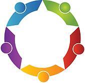 Teamwork five peoples logo