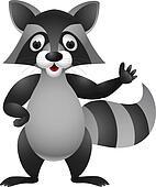 Raccoon cartoon hand waving