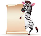 Zebra cartoon with blank paper