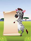 Zebra cartoon with blank paper
