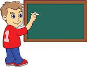 a boy Writing on the Blackboard