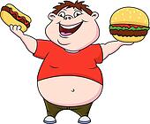 Fat boy with burger and hot dog