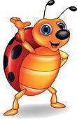 Funny ladybug cartoon waving