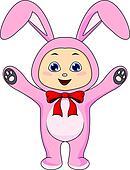 cute baby in rabbit costume