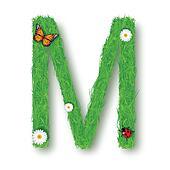 Grass Letter M on white background