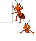 Cute ant cartoon with blank sign