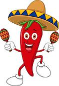 Happy chili pepper dancing with mar