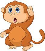 Cute monkey cartoon thinking