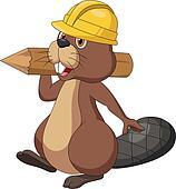 Cute cartoon beaver wearing safety