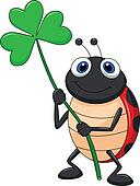 Ladybug cartoon with clover leaf