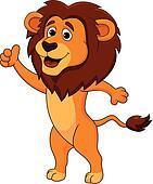 Cute lion cartoon thumb up