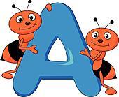 Alphabet A with ant cartoon