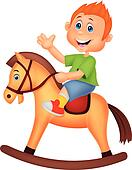 Cartoon boy riding a horse toy