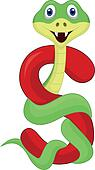 Alphabet S with snake cartoon
