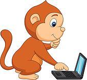 Cute monkey playing computer