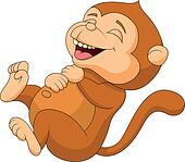 Cute monkey cartoon laughing