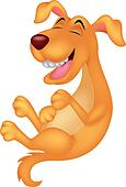 Cute dog cartoon laughing