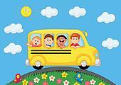 School Bus With Happy Children cart