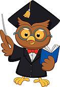 Owl wearing a graduation uniform gi