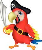 Cute parrot pirate cartoon