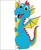Cute dragon cartoon with blank sign