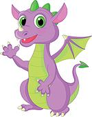 Cute baby dragon cartoon waving