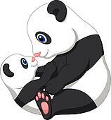 Mother and baby panda cartoon