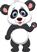 Baby panda cartoon waving hand