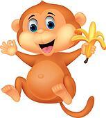 Cute monkey cartoon eating banana