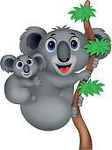 Mother and baby koala cartoon