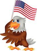 Eagle cartoon holding American flag