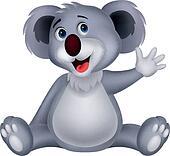 Cute koala cartoon waving hand