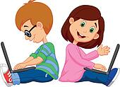 Cartoon Boy and girl studying with