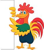 Cute rooster cartoon and blank sign