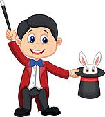 Magician pulling out a rabbit from
