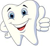 Cute cartoon tooth with thumb up