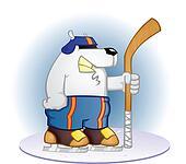 Polar Bear Hockey Player Cartoon