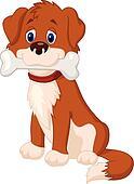 Cartoon Dog with bone