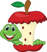Worm eating red apple cartoon