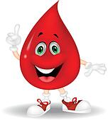 Cute red blood cartoon pointing his