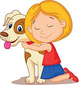 Lovely cartoon little girl hugging