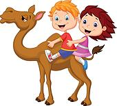 Cartoon Boy and girl riding camel