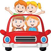 Road Trip with family cartoon