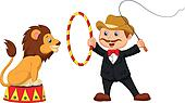 Cartoon Lion Tamer with lion