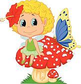 Cartoon Baby fairy elf sitting on m