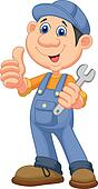Cute mechanic cartoon holding wrenc